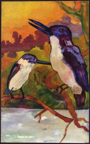 Birds painted by Johannes Petrus Maria Waterloo in 1936 (oil on paper, 16x39 cm)