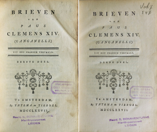 Pope Clemens XIV Letters, Dutch translation, 1777